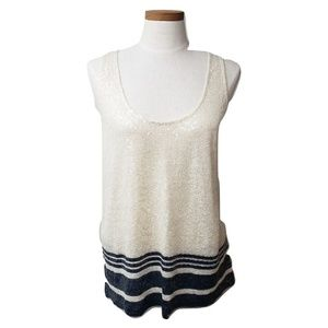 J. Crew Striped White and Blue Sequin Top Sz L